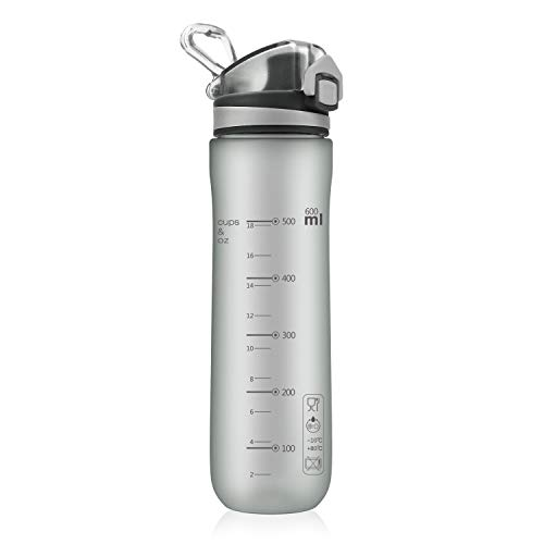 Letsfit Sports Water Bottle, BPA-Free Tritan Plastic Water Bottle with Locking Flip-Flop Lid, Leakpoof and Dustproof Cap, Carry Loop, 21oz Bottle for Outdoor Hiking Camping Travel (Frosted Gray)