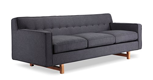 Kardiel Kennedy Mid-Century Modern Classic Sofa, Urban Ink Vintage Twill - Brand: KARDIEL; Style: Kennedy 3 Seat Sofa. Inspired by comfortable modernism; Frame: Traditional hardwood box frame construction; Seat Platform: Reinforced bottom seat cushion platform for firm longer lasting support Foam Type: Durable multi-density foam; Seat Cushion: Down Feather filled cushions, Reversible cushions; Seat Cushion Style: Fitted removable seat cushions; Cushion feature: Zippered seat cushions Fabric Type: Vintage Tailored Twill: 60% Linen, 20% Cotton, 20% Nylon; Back style: Full width affixed solid back; Stitch Edge Type: Piping in vintage twill cotton blend - sofas-couches, living-room-furniture, living-room - 31dMHL4h%2BvL -