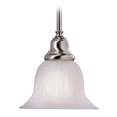 LED Hanging Mini-Pendant with Alabaster Glass and Satin Nickel Finish