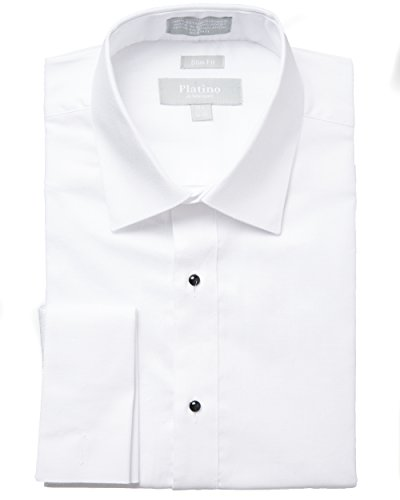 Platino-Mens-Formal-Textured-Slim-Fit-French-Cuff-Laydown-Collar-100-Cotton-Tuxedo-Shirt