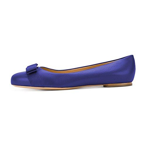 Xyd Femmes Confort Bout Rond Ballerines Slip Slip On Dress Quotidien Chaussures De Marche Avec Des Noeuds Violet
