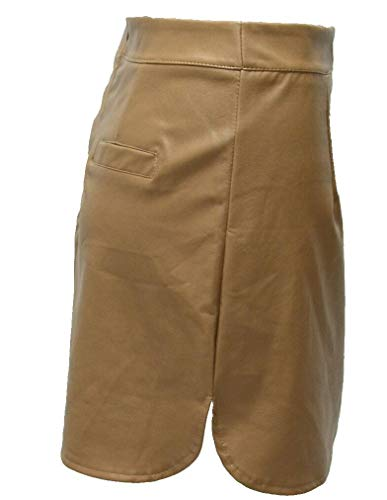Casual Crayon Faux Soire Femme Kaki YiyiLai Uni Elgant Jupe Bureau Cuir Cocktail Clubwear Couleur 54wqnxBv6