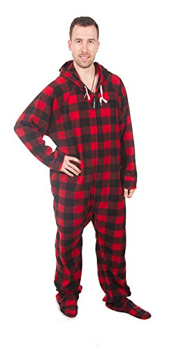 Forever Lazy Footed Adult Onesie - Buffalo Plaid - - Footed Plaid Pajamas