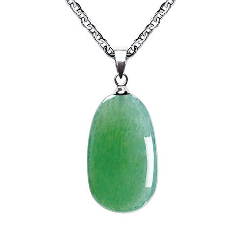 iSTONE Natural Gemstone Natural Green Aventurine Water Drop Pendant Necklace with Stainless Steel Chain 20 Inch
