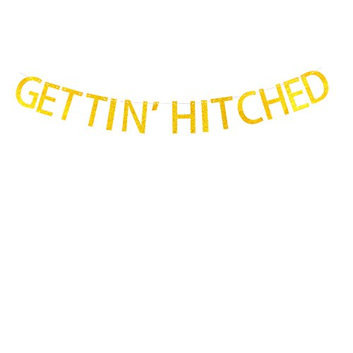 Gettin' Hitched banner Bridal Shower,bachelortte ,bachelo party decorations Gold Glitter banner