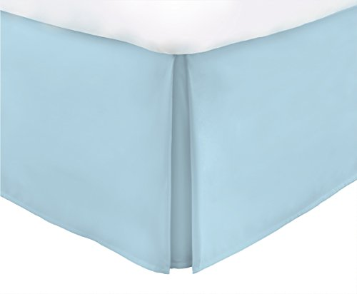 Italian Luxury Hotel Collection Bed Skirt with 15-inch Drop - Double Brushed Microfiber Pleated Dust Ruffle - Aqua - Queen