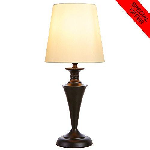 SOTTAE Luxurious Black Base Metal Living Room Table Lamp,Beige Fabric Shade Bedroom Bedside Lamps (Black Base Table Lamp)