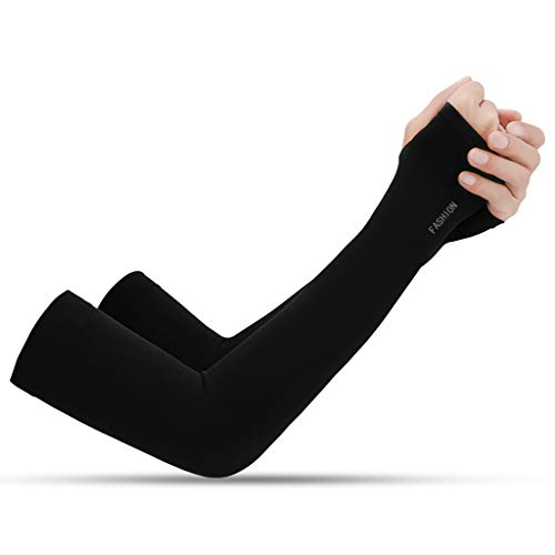 QUICATCH Sport Arm Sleeves Cooler Outdoor UV Sun Protect Cuff Anti-Slip Basketball Armband Tattoo Cover High Elastic Quick-Drying 2PCS (Black)