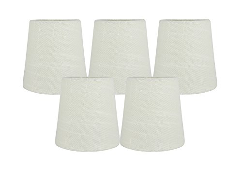 Meriville Set of 5 Eggshell Linen Clip On Chandelier Lamp Shades, 3.5-inch by 4.5-inch by 4.5-inch