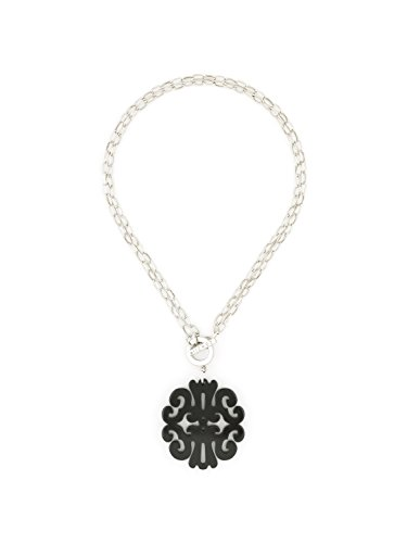ZENZII Statement Scroll Acrylic Resin Pendant Necklace with Convertible Toggle Chain (Silver Black)