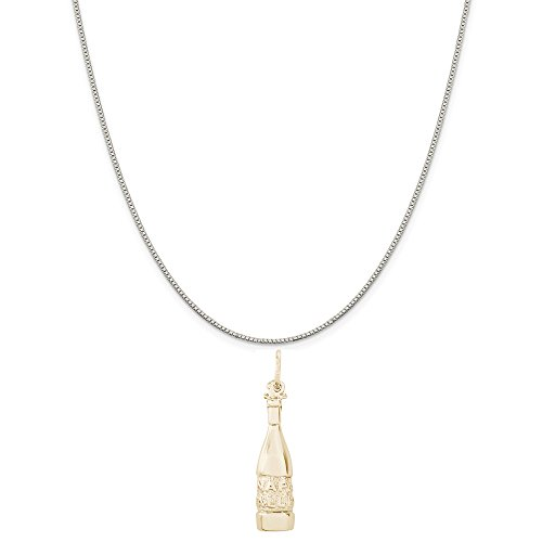 (Rembrandt Charms Two-Tone Sterling Silver Napa Valley Wine Bottle Charm on a Sterling Silver Box Chain Necklace,)