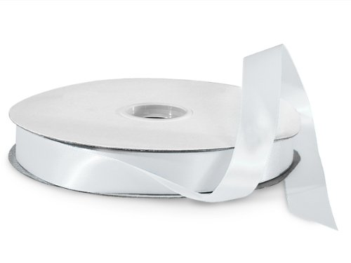 White Double Faced Satin Ribbon 7/8''x100 yds 100% Polyester (2 Spools) - WRAPS-DFS5029 by Miller Supply Inc