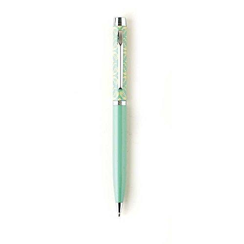 Damask Cross Tan Mint Green Chrome Metal Twist Open Black Ink Ballpoint Pen ()
