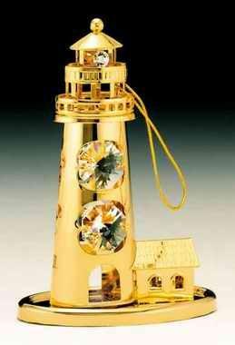 - Lighthouse Swarovski Crystal 24k Gold Plated Ornament