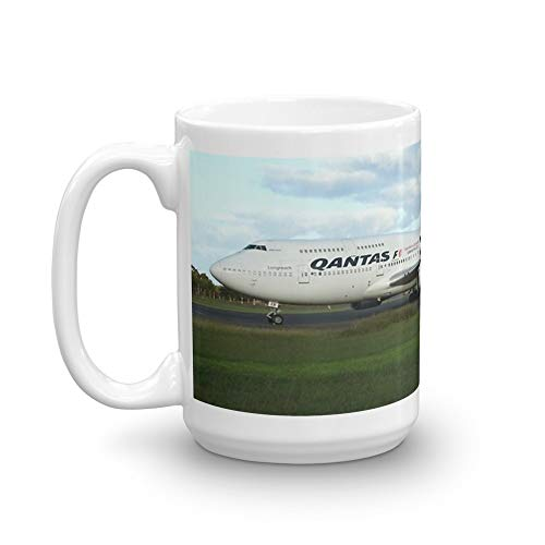Qantas 747 on Easter Island runway 15 Oz White Ceramic for sale  Delivered anywhere in USA