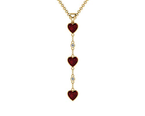 - Euforia Jewels IGI Certified 14K Yellow Gold Natural Garnet 6X6 MM Heart Cut AAA++ Quality and 0.06 Carat Natural Diamond (I/G-H-I) Round Cut Dangling Pendant With Free 925 Silver Chain