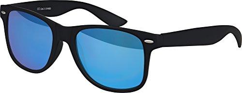 NEUF haute qualité Nerd Wayfarer Lunettes de soleil Gomme en Style Rétro Vintage Unisexe Lunettes avec Charnière à ressort de couleur Cadre Schwarz - Blau