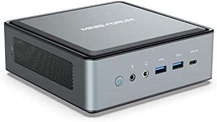 Mini PC AMD Ryzen 5 4500U Windows 10 Pro Desktop Computer, DDR4 16G RAM+256G SSD, HDMI/DP/USB-C 4K@60Hz Output, 2X RJ45 Port(1000/2500Mbps), 6X USB Port, WIFI6 AX200, AMD Radeon Graphics, 2X HDD Slot