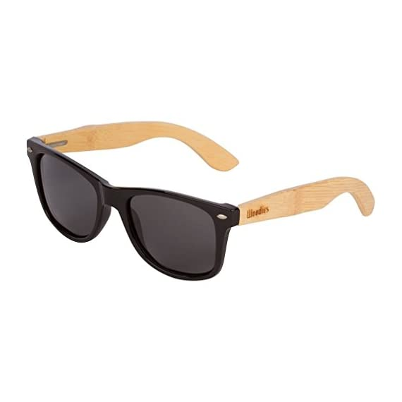8bfe7c6021 WOODIES Bamboo Wood Sunglasses with Plastic Frames 1 Handmade from REAL Bamboo  Wood (50%