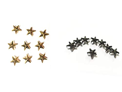 50 Pcs Star Studs, Blend of Two Colors Metal Claw Beads Nailhead Punk Rivets with Spikes (Gold & Gun Black, 20 mm)