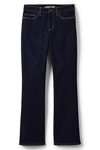 Lands End Tall Jeans - Lands' End Women's Mid Rise Boot Cut Blue Jeans, 12 32, Deepest Indigo