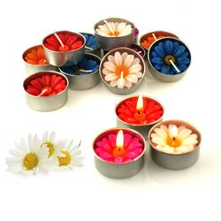 Relax spa shop® Daisy Flower Candle Colourful in Tea Lights, Floating Candles, Scented Tea Lights, Aromatherapy Relax (Pack of 10 Pcs.)