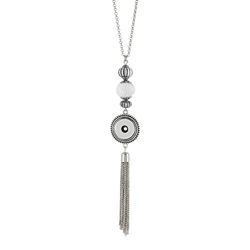 My Prime Gifts Interchangeable Snap Jewelry Glass Bead & Tassel Necklace 32
