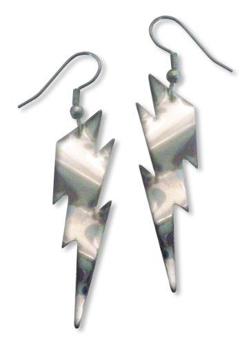 [Lightning Bolt Dangle Earrings Polished Silver Finish Pewter] (Lightning Bolt Costumes)