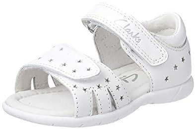 Clarks Girls' Shimmery Fashion Sandals, White, 28 EU (10 AU)