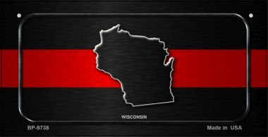 Wisconsin Thin Red Line Novelty Bicycle License Plate BP-9738 by Smart Blonde