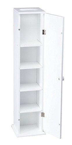 Moon Daughter White Narrow Slim Wall Cabinet Storage Bathroom Shelves Toilet Holder Tissue - Roll Holder Moon Toilet