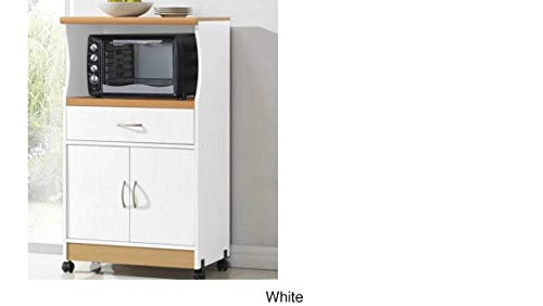 Microwave Cart Stand – White Finish – One Shelf for the Microwave and Another Shelf Above Plus a Drawer and Cabinet Below