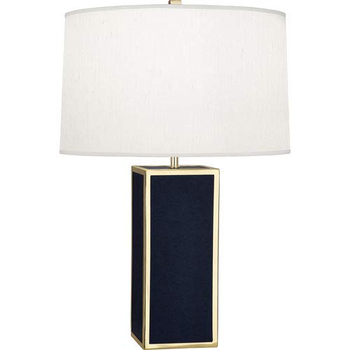 (Mill & Mason Donatella Polished Brass and Navy 29-Inch One-Light Table Lamp)