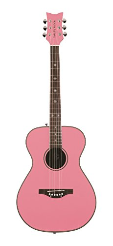 Daisy Rock Pixie Acoustic Guitar, Powder Pink Butterfly Rock Guitar
