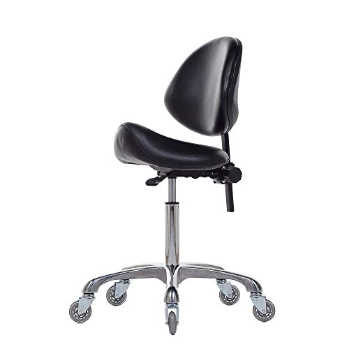 Studio Salon - FRNIAMC Adjustable Saddle Stool Chairs With Back Support Ergonomic Rolling Seat For Medical Clinic Hospital Lab Pharmacy Studio Salon Workshop Office And Home