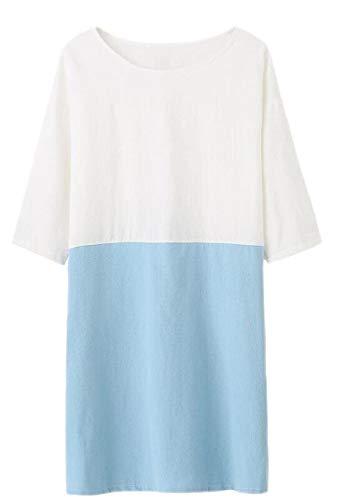 Qianqian-au Patchwork Occasionnel Des Femmes 3/4 Manches Poches En Lin Coton Robe Bleu Clair