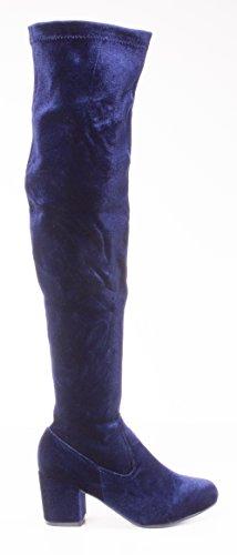 Charles Albert Womens Thigh High Over-The-Knee Chunky Heel Velvet Boots Navy 2rq3sjta