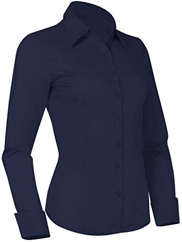 Pier 17 Button Down Shirts for Women, Fitted Long Sleeve Tailored Work Office Blouse (X-Large, Navy)