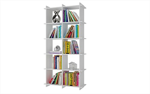 manhattan comfort gisborne collection convenient modern open double rowed shelf living room 10 shelf wall mounted bookcase white - Wall Mounted Bookcase