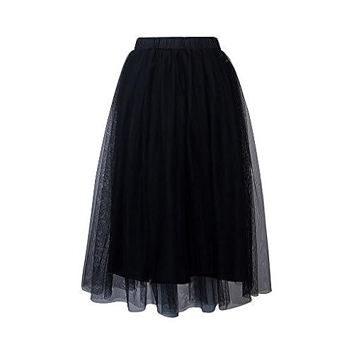 PERSUN Women's Elastic Waist Mesh Tulle Layer Pleated Party Midi Skirt ,Black,Medium