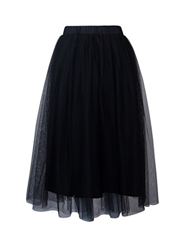 PERSUN Women's Elastic Waist Mesh Tulle Layer Pleated Party Midi Skirt,Black,Large