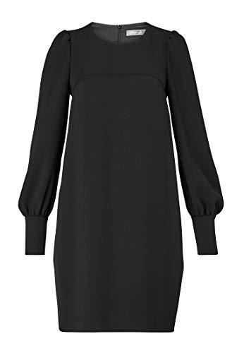 körperumspielend Kleid A Hallhuber Schwarz Volumenärmeln Linien mit Geschnitten nqf88Xx4