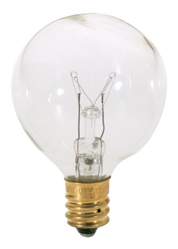 Satco S3847 120V Candelabra Base 40-Watt G12.5 Light Bulb, Clear