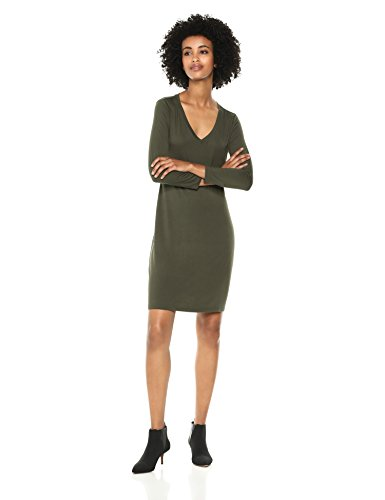 Daily Ritual Women's Jersey 3/4-Sleeve V-Neck T-Shirt Dress, Forest Green, X-Small