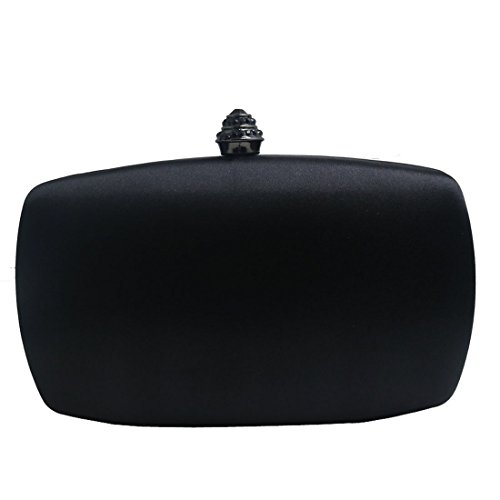 Black Satin Clutch (DMIX Womens Satin Silk Hard Case Box Clutch Evening Bags Black)