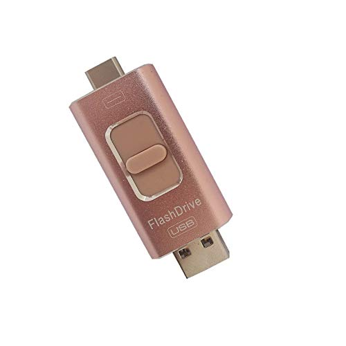 USB Flash Drive 128GB [4 in 1] External Storage Memory Stick/Storage encryption Thumb, Adapter Compatible with Android Interface, Apple Interface, USB Interface, tupe-c Interface. (Rose Gold)