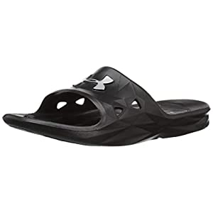UNDER ARMOUR Men's Locker III Slide Sandal, Black (001)/Metallic Silver, 11