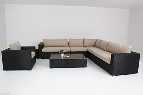 Outdoor Furniture Patio Sofa 8 Piece Sectional Coffee Table Chair Wicker Sunbrella