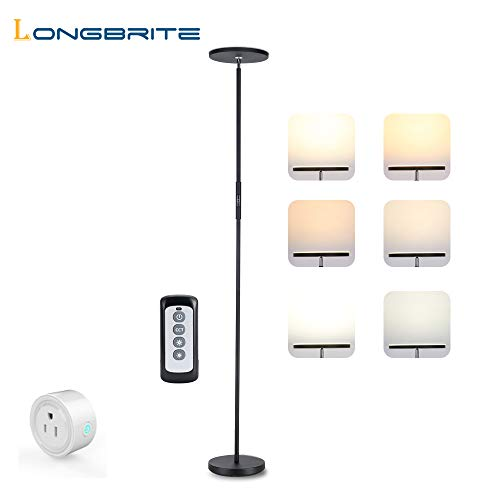 LONGBRITE LED Torchiere Floor Lamp, Dimmable Modern Reading Tall Standing Uplight Lamp for Living Room Bedroom, Touch and Remote Control Floor Light, 3 Color Temperatures, Stepless Dimming, 20W ()