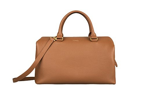 Lipault - Plume Elegance Bowling Bag - Medium Top Handle Shoulder Boston Handbag for Women - Cognac - Handle Boston Bag